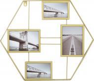 Колаж Шестикутник золотистий на 4 фото 10x15/18x13 см