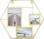 Колаж Шестикутник золотистий на 3 фото 13х18/10x10/15x10 см