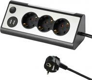 Подовжувач Electraline кутовий 2 USB LED підсвітка із заземленням 3 гн. чорно-сірий 1,5 м 62512