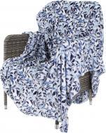 Плед Flannel Leaves 160x200 см синій із білим La Nuit