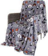 Плед Flannel Happy Dogs 160x200 см сірий La Nuit