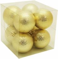 Набір іграшок Куля з рельєфним візерунком золотиста d60 мм 8 шт./уп.