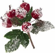 Гілочка декоративна Пучечок ягід засніжений 13 см EYK2-1179A