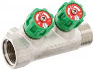 Колектор Valtec з регулюючими вентилями і переходами на зовнішню різьбу на 2 виходи 3/4 х 1/2