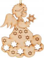 Підвіска дерев'яна Янгол з зіркою 1022 7,5 см