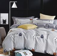 Комплект постільної білизни Happy dogs двоспальний різнокольоровий принт La Nuit