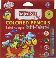 Олівці кольорові Multi-Talented 3 в 1 6 шт. з чинкою MX15171 Maxi