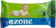 Дитячі вологі серветки Ozone Baby з екстрактом Алое вера 15 шт.