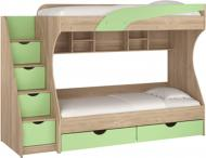 Ліжко двох'ярусне Пєхотін Кадет 80x190 см дуб сонома/фісташковий