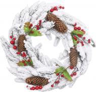 Вінок новорічний з шишками і ягодами d400 мм