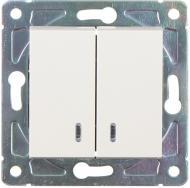 Вимикач пластик двоклавішний HausMark Alta з підсвіткою 10 А 220В крем SNG-SWP,SQ20MG2W1L-CR
