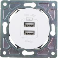 Механізм розетки USB кінцева подвійна HausMark Bela без шторок без кришки білий SNG-SCP.RD20MG2U-WH
