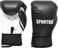 Боксерські рукавиці SPORTKO 4oz чорний із білим