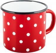 Чашка эмалированная 0,4 л Красная полька Idilia
