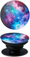 Тримач для телефона Pop 005 Галактика Luxe Cube чорний із блакитними вставками