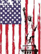 Постер Статуя на фоне флага Америки