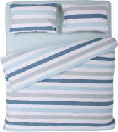 Комплект постельного белья Полоска 1,5 голубой La Nuit