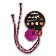 Игрушка для собак AnimAll Шар с канатом 4 см фиолетовый 88174