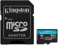 Карта пам'яті Kingston microSDXC 64 ГБ UHS-I Class 3 (U3) (SDCG3/64GB) Canvas Go! Plus V30