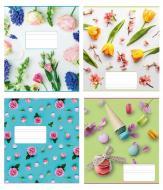 Комплект тетрадей 12 листов косая Цветочки Полиграфист