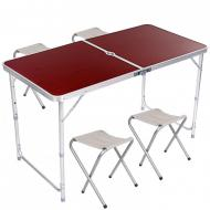 Стол для пикника раскладной со стульями Folding Table Коричневый (hub_wjeg68016)