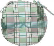 Подушка на стілець Шато d40 см клітинка зелена La Nuit