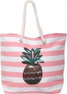 Сумка пляжна Смуги з ананасом білий із рожевим