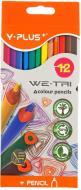 Олівці кольорові We-Tri TC140210, 12 шт. Y PLUS