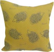 Подушка декоративная Ежики 45x45 см желтый с рисунком Анна