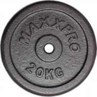 Диск для грифа сірий MaxxPro 20 кг