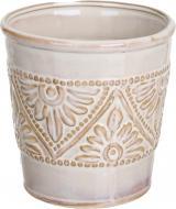 Кашпо керамічне Орнамент круглий (026-6.5-H2) кремовий