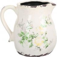 Кашпо керамічне глечик Чайна троянда фігурний (H080-116-2) бежевий із малюнком