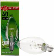 Лампа розжарювання  Belsvet B35 свічка 40 Вт E14 230 В прозора ДС 40-1