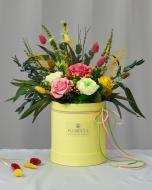 Цветочная композиция в шляпной коробке Солнечная улыбка S