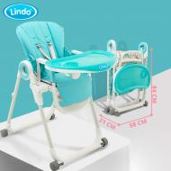 Стульчик для кормления Lindo синий 174 blue