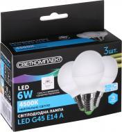 Лампа світлодіодна Светкомплект 3 шт./уп. 6 Вт G45 матова E14 220 В 4500 К