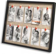 Мультирамка Velista прищепка 10 фото 10x15 см черный