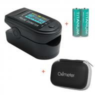 Пульсоксиметр LK-88 Цветной OLED дисплей - Чёрный + Чехол-футляр с отделом для батареек