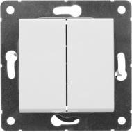Перемикач прохідний двоклавішний HausMark Alta без підсвітки 10 А 220В білий SNG-SWP.SQ20MG2W2-WH
