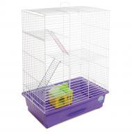 Клітка Природа для гризунів Нюра з будиночком, біла/фіолетова PR241523
