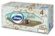 Серветки паперові у коробці Zewa Softis косметичні чотирьохшарові 80 шт.