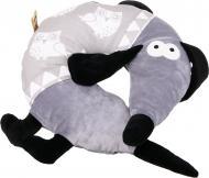 Подушка декоративна під шию Собака з совами 39x39 см сірий
