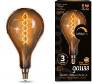 Лампа світлодіодна Gauss FIL Vintage Flex Dim Golden A160 8 Вт E27 2400 К 220 В жовта