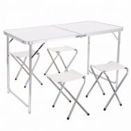 Раскладной туристический стол Folding Table для пикника со стульями 120х70х60см Белый