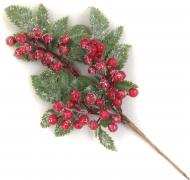 Декорация новогодняя Ветка с ягодами 30 см RS1Z2516-30CM