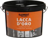 Лак Decor Lacca D'oro Element Decor оксамитовий мат 3 л прозорий золотий