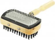 Щітка-пуходерка TRIXIE двостороння з дерев'яною ручкою 10х18см 2305