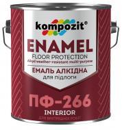 Эмаль Kompozit для пола ПФ-266 красно-коричневый глянец 0,9кг