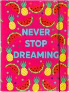 Папка-бокс Never Stop Dreaming А4 рожева на резинці iTEM