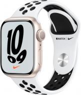 Смарт-часы Apple Watch Nike Series 7 GPS 41mm starlight AluminiumCasewithPurePlatinum/BlackNikeSportBand (MKN33UL/A)